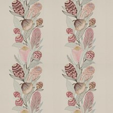 Pink Begonia Embroidery Drapery and Upholstery Fabric by Vervain