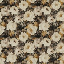 Cocoa Amber Floral Drapery and Upholstery Fabric by S. Harris
