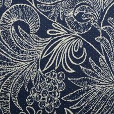 Navy Floral Vine Drapery and Upholstery Fabric by Duralee