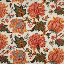 Multi Corals/Evergreen Drapery and Upholstery Fabric by Scalamandre