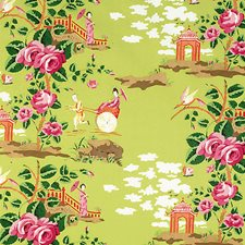 Pink/Orange On Green Drapery and Upholstery Fabric by Scalamandre
