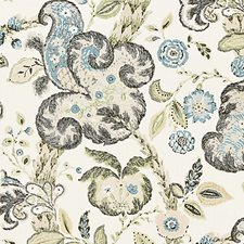 Smoke On Ivory Block Print Drapery and Upholstery Fabric by Scalamandre