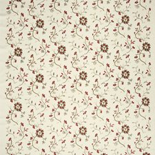 Rural Red Embroidery Drapery and Upholstery Fabric by Fabricut