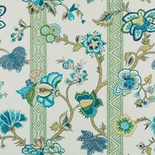 Sea Green Floral Large Drapery and Upholstery Fabric by Duralee