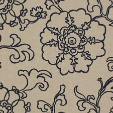 Indigo Embroidery Drapery and Upholstery Fabric by Lee Jofa
