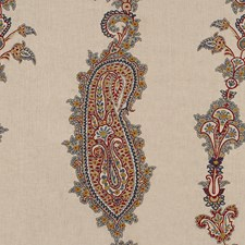 Indigo/Red Embroidery Drapery and Upholstery Fabric by Lee Jofa
