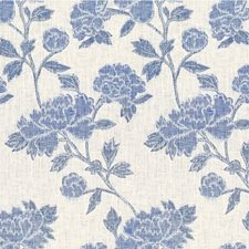 Ivory/Blue Botanical Drapery and Upholstery Fabric by Lee Jofa