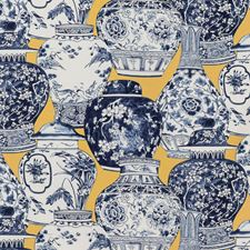 Maize/Blue Chinoiserie Drapery and Upholstery Fabric by Lee Jofa