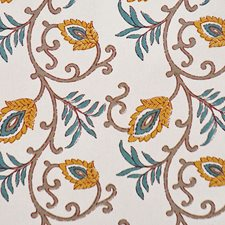 Gold/Turquoise Drapery and Upholstery Fabric by RM Coco