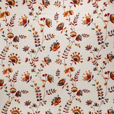 Cinnamon/Stone Floral Drapery and Upholstery Fabric by Fabricut