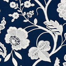 Navy Embroidery Drapery and Upholstery Fabric by Scalamandre