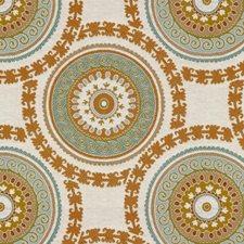 White/Blue/Orange Ethnic Drapery and Upholstery Fabric by Kravet