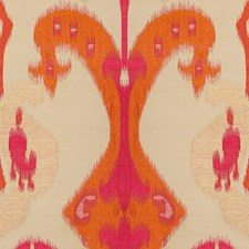 Pink/Orange/Beige Ikat Drapery and Upholstery Fabric by Kravet