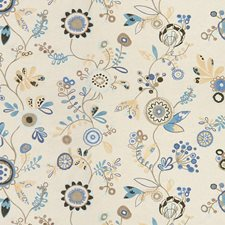 Blue Sky Botanical Drapery and Upholstery Fabric by Kravet