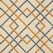 Beige/Dark Blue/Gold Lattice Drapery and Upholstery Fabric by Kravet