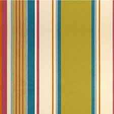 Green/Orange/Turquoise Stripes Drapery and Upholstery Fabric by Kravet