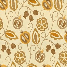 Beige/Gold/Grey Botanical Drapery and Upholstery Fabric by Kravet
