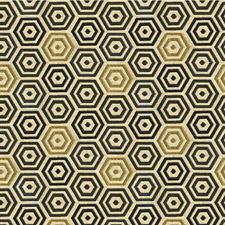 Blue Gold Geometric Drapery and Upholstery Fabric by Kravet