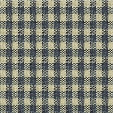 Blue/Beige Check Drapery and Upholstery Fabric by Kravet