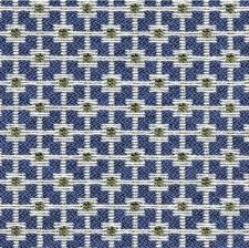 Blue/Celery/Ivory Geometric Drapery and Upholstery Fabric by Kravet