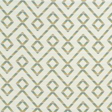 Turquoise/Taupe/White Lattice Drapery and Upholstery Fabric by Kravet