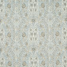 Blue/Yellow/White Damask Drapery and Upholstery Fabric by Kravet