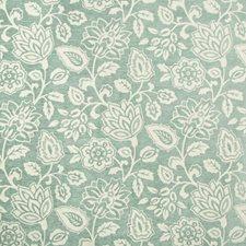 White/Light Blue Botanical Drapery and Upholstery Fabric by Kravet