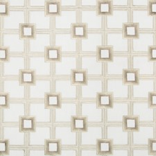 White/Silver/Gold Geometric Drapery and Upholstery Fabric by Kravet