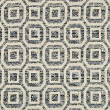White/Indigo/Blue Geometric Drapery and Upholstery Fabric by Kravet