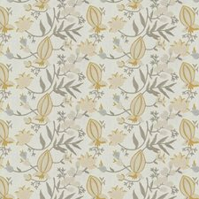 Saffron Floral Drapery and Upholstery Fabric by Stroheim