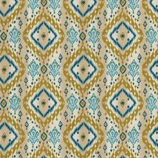 Teal Global Drapery and Upholstery Fabric by Fabricut