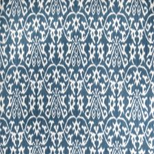 Indigo Flamestitch Drapery and Upholstery Fabric by Vervain