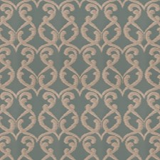 Aqua Scrollwork Drapery and Upholstery Fabric by Fabricut