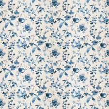 Blue Floral Drapery and Upholstery Fabric by Trend