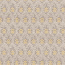 Yellow Grey Animal Drapery and Upholstery Fabric by Trend