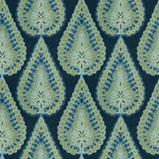 Indigo Medallion Drapery and Upholstery Fabric by Vervain