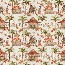 Coral Asian Drapery and Upholstery Fabric by Fabricut