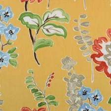 Gold Floral Small Drapery and Upholstery Fabric by B. Berger