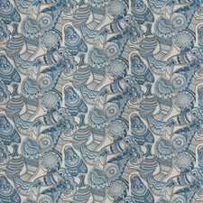 China Blue Animal Drapery and Upholstery Fabric by Vervain