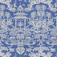 Blue Asian Drapery and Upholstery Fabric by Brunschwig & Fils