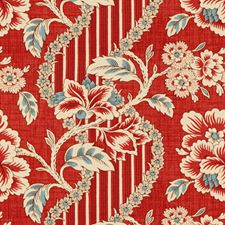 Crimson/Blue Print Drapery and Upholstery Fabric by Brunschwig & Fils