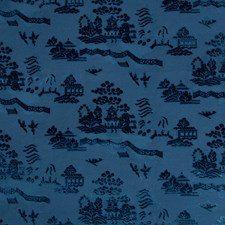 Navy Asian Drapery and Upholstery Fabric by Brunschwig & Fils