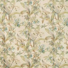 Aqua Botanical Drapery and Upholstery Fabric by Brunschwig & Fils