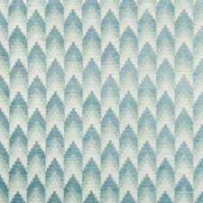Aqua Geometric Drapery and Upholstery Fabric by Brunschwig & Fils