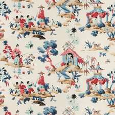 Blue/Red Asian Drapery and Upholstery Fabric by Brunschwig & Fils