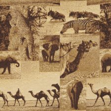 Desert Animal Drapery and Upholstery Fabric by S. Harris