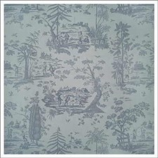 Blue Toile Drapery and Upholstery Fabric by Kravet