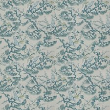 Turquoise Floral Drapery and Upholstery Fabric by Trend