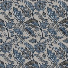 Blue Floral Drapery and Upholstery Fabric by Fabricut