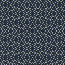 Navy Geometric Drapery and Upholstery Fabric by Trend